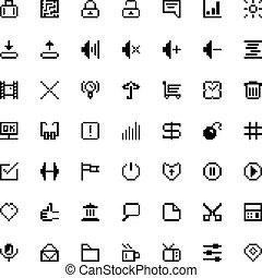 web, set, kunst, iconen, black , pixel
