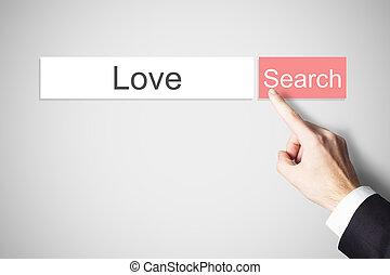 web zoektocht, liefde, knoop het duwen, vinger