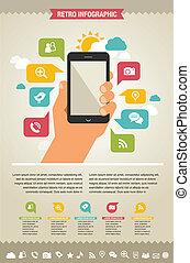 website, iconen, beweeglijk, -, telefoon, infographic, achtergrond
