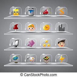 website, iconen, knoop, glas, internet