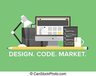 website, management, programmering, illustratie, plat