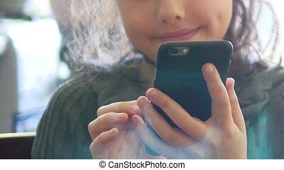 website, smartphone, telefoon, spel, surfing, tiener, online, meisje