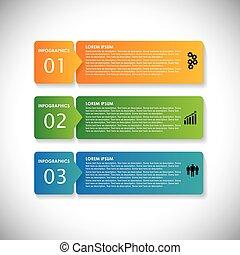 websites, dit, opeenvolging, &, gebruikt, etiketten, banners., marketing, stappen, vector, infographic, kleurrijke, grafisch, eenvoudig, -, zijn, voorstellingen, reclame, enz., webdesigns, materialen, zakelijk, groenteblik