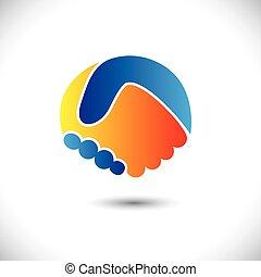 weergeven, concept, mensen, shake., vennootschap, &, -, gebaren, ook, eenheid, nieuw, vriendschap, handel illustratie, hand, vrienden, pictogram, grafisch, dit, groet, vertrouwen, enz., vector, groenteblik, of