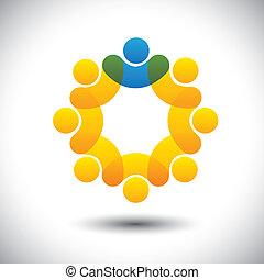 weergeven, concept, supervisor, abstract, gemeenschap, directeur, &, -, ook, vector., cirkel, leider, leden, leider, pictogram, grafisch, personeel, dit, werknemers, iconen, bewindvoering, enz., groenteblik, team