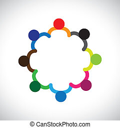 weergeven, grafisch, diversity., verscheidenheid, geitjes, &, dit, vormen, spelend, mensen, kinderen, ook, concept, teamwork, groenteblik, holdingshanden, bevat, team, collectief, circle.