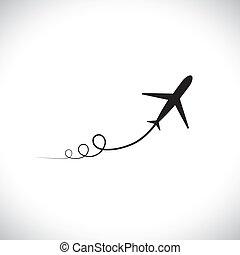 weergeven, hoog, vliegtuig, snelheid, zijn, boven., silhouette, straalvliegtuig, &, hemel, ook, nemen, speeding, symbool, het tonen, illustratie, steegjes, pictogram, grafisch, van, dit, zoom, groenteblik, militair