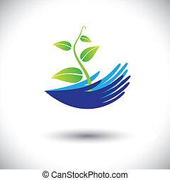 weergeven, plant, concept, groenteblik, icon(symbol)., kiemplant, van een vrouw, graphic-, handen, enz., illustratie, concepten, milieu, vector, bos, beschermen, planten, opslag, of, zoals