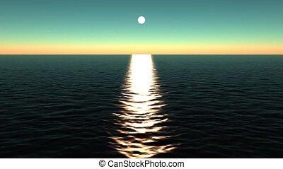 weerspiegelen, zon, ocean.