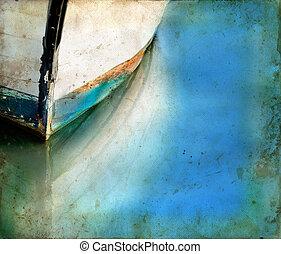 weerspiegelingen, grunge, scheepje, achtergrond, boog
