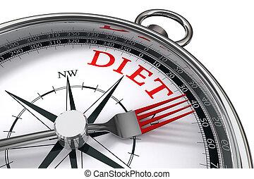 weg, concept, dieet, vermelde, kompas