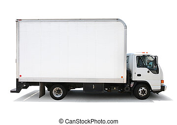 wegen, af)knippen, vrijstaand, aflevering, achtergrond, vrachtwagen, included., witte