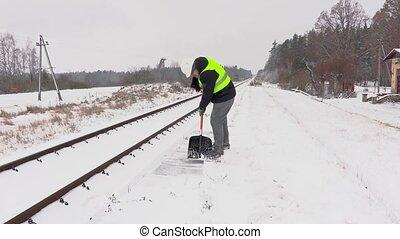 weggaand, sneeuw, schoonmaken, werknemer, spoorweg, spoorweg