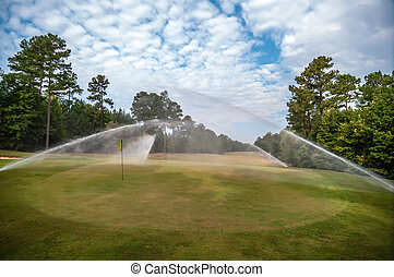 wei, golf, watering, cursus, groen gras