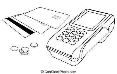 weinig, muntjes, terminal, pos, betaalkaarten, overzichten