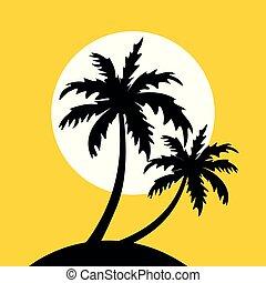 weinig; niet zo(veel), eiland, gele, palmbomen, achtergrond, zon