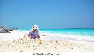 weinig; niet zo(veel), geitjes, vader, jonge, tropische , zand, vervaardiging, kasteel strand