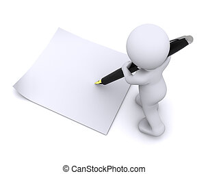 weinig; niet zo(veel), groot, karakter, schrijf, pen, kaart, 3d
