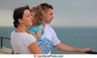 weinig; niet zo(veel), handen, meisje, zee, moeder, gezin, staand, blik