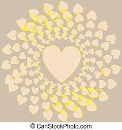 weinig; niet zo(veel), hart, omringde, hartjes, groot