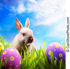 weinig; niet zo(veel), pasen gras, konijntje, groene, eitjes