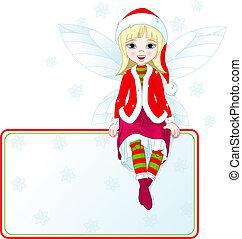 weinig; niet zo(veel), plek, kerstmis kaart, elfje