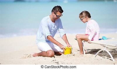 weinig; niet zo(veel), vader, tropische , zand, vervaardiging, kasteel strand, geitje