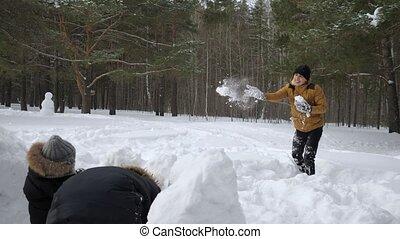 weinig; niet zo(veel), zijn, vrouw, gezin, sneeuw, zoon, sneeuwballen, man, wall., spelend, het verbergen, voor