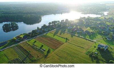 weit veld, aanzicht, luchtopnames