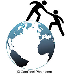 weldoener, bovenzijde, bereiken, op, hulp, wereld, vriend, uit