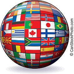 wereld, beeld, vector, vlaggen, globe.