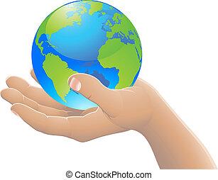 wereld, concept, jouw, hand