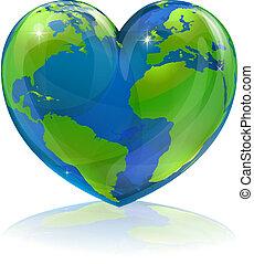 wereld, concept, liefdehart