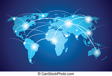 wereld, globaal net, kaart