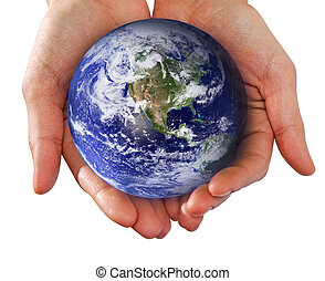 wereld, hand houdend, menselijke handen