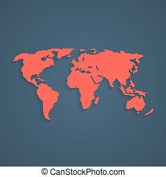 wereld, kunst, pixel, rood, kaart