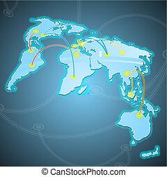 wereld, routes., koopmanschapen, enig, illustratie