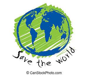 wereld, schets, concept, idee, sparen