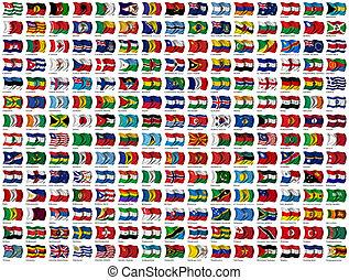 wereld, set, vlaggen
