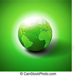 wereld, symbool, groene, pictogram