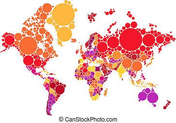 wereld, vector, punt, abstract, kaart