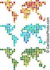 wereld, vector, punt, abstract, set, kaart