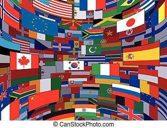 wereld, vector, vlaggen, achtergrond., achtergrond
