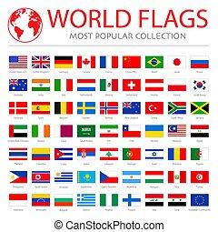 wereld, vlaggen, vector, grafiek