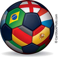 wereld, voetbal, vlaggen, bal