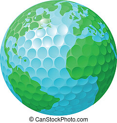 wereldbol, concept, golf bal