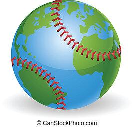 wereldbol, concept, honkbal bal