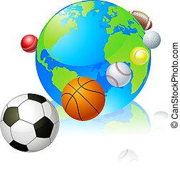 wereldbol, concept, sporten
