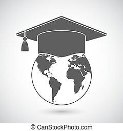 wereldbol, pet, afgestudeerd, pictogram