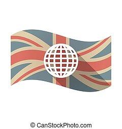 wereldbol, vlag, vrijstaand, uk